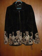 WOMEN'S CLOTHING JACKET FLEECE ZIPS UP FRONT TEDDY BEARS ACROSS BOTTOM XL