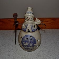 Christmas Snowman Candle Burner Ceramic Metal Arms Winter Scene w Crazing Beauty