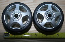 New pair of replacement Aluminum colored Luggage Wheels, size: 68mm or 2.67""