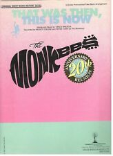 """THE MONKEES """"THAT WAS THEN, THIS IS NOW"""" SHEET MUSIC-1985-NEW-MINT CONDITION!!"""