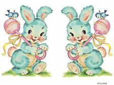 XL VinTaGe IMaGe BaBY BLuE BuNnY RaTTLe NuRSeRY SHaBbY WaTerSLiDe DeCALs