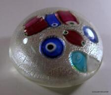 Mid Century Murano Art Glass Barovier Oversized Paperweight Silver Foil & Canes