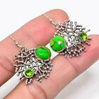 """Copper Mohave Green Turquoise & Peridot 925 Silver Jewelry Earring 1.46"""" S262"""
