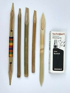Calligraphy Bamboo Dip Pen set - Pack of 5 Qalam Pens 4mm - 8mm With Drawing Ink
