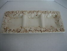 """Classic Elements Ceramic Cream Antiqued Fruit Pattern 3 Section Platter 18""""L. NW"""