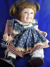 Patriotic Doll Porcelain Girl Red White Blue Dress Pig Tails Little Patriot