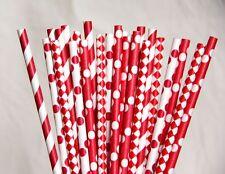 100 Red paper straws polka dot stripes chevron drinking wedding party tableware