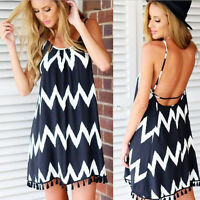 New Women's Sexy BOHO Stripe Strap Long Cocktail Evening Party Summer Maxi Dress