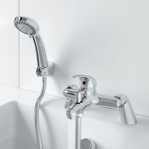 Bathroom Bath Shower Mixer Tap with Handset Chrome Modern Curved Single Lever
