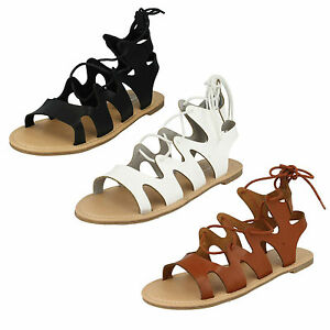 F0976 LADIES SPOT ON LACE UP GLADIATOR FLAT STRAPPY SUMMER SANDALS BEACH SHOES