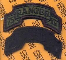 75th Infantry AIRBORNE RANGER REGIMENT T-3 OD Green Black scroll patch