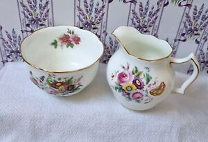 """Vintage Coalport """"Junetime"""" Bone China Sugar Bowl & Milk Jug for Tea Set"""