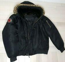 Juicy Couture Mens Jacket Fur Hoodie Black Nylon Parka Down Hooded Outwear XL