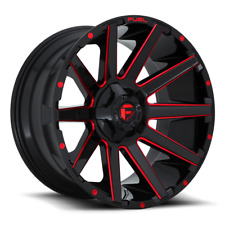 (4) 20x9 Fuel Gloss Black & Red Contra Wheel 6X135 6X139.7 For Ford Toyota Jeep