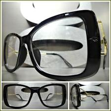 New Classy Elegant Retro Style Clear Lens EYE GLASSES Black & Gold Optical Frame