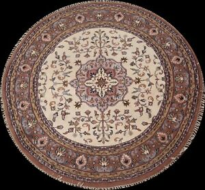 IVORY Traditional Floral Ardakan Oriental Area Rug Hand-knotted Carpet 7x7 Round
