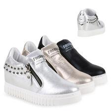 Damen Sneaker-Wedges Zipper Keil Absatz Glitzer Sneakers 811741 Schuhe