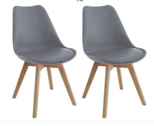 Habitat 'Jerry' Pair Of Grey Dining Chairs With Solid Oak Legs BNIB
