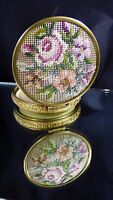 Vintage Flower Petit Point Needlepoint Compact Power Rouge Gold Tone Mirror