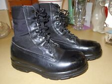 "LADIES ""BATES"" BLACK LEATHER & FABRIC TOP MILITARY STEEL TOE COMBAT BOOTS - 7.5M"