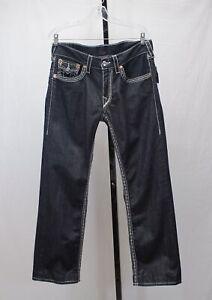 True Religion STRAIGHT Dark Blue Flap Pocket Denim Jeans Size 33x29