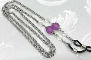 Frosted Purple & Silver Eyeglass Chain  Reading Glasses  Sunglasses Holder