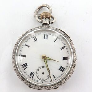 SCARCE c1914 OMEGA STERLING SILVER LADIES SMALL POCKET WATCH.