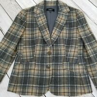 Talbots Wool Blend Plaid Blazer Jacket Womens 4 Gray Tan Lined Soft