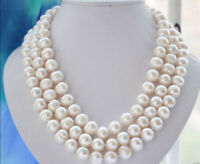 Real Natural 10-11MM WHITE FRESHWATER Cultured PEARL NECKLACE 50INCH JN913