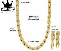 "Iced Simulated Diamond 14K GP Gold 10mm 24"" French Solid Rope Necklace Chain"