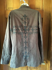 Pop Icon Clothing-Brown Taupe jacket with Black Cross on back-Sz Small