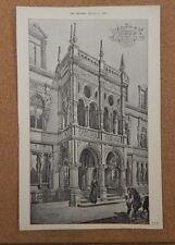 Antique Architects print Design For A double porch The Builder 1889