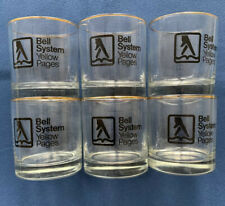 Vintage BELL SYSTEM AT&T Telephone Yellow Pages Set Of Six Old Fashioned Glasses