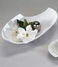 Déco Moderne BOL Bol de fruits ovale en céramique blanc samunga Longueur 40 cm