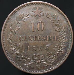 1866 M   Italy 10 Centesimi   Copper   Coins   KM Coins