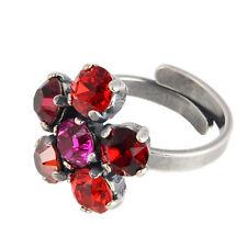 Grevenkämper Ring Silber Swarovski Kristall Rund Blume Statement Rot Mix rot