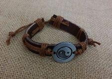 Unisex Leather Hemp Cord Adjustable Yin Yang Friendship Bracelet Camel - USA Sel