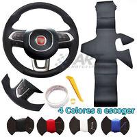 Funda de volante a medida para Fiat Tipo realizada en cuero liso perforado negro