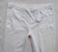BNWT NEXT new Ladies white summer relaxed leg linen blend trousers  12 14 R L
