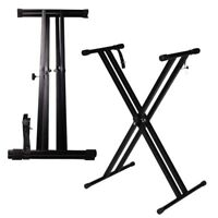 Electric Keyboard Piano Double X-brace Construction Stand Adjustable Dual Tube