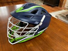 Cascade S lacrosse helmet Navy blue with lime green accents and white faceguard