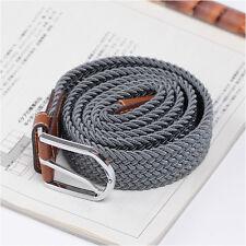 Men's Casual Fashion Belt Faux Leather Stretch Elastic Belts Unique Grey Color