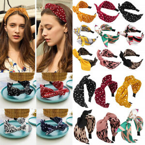 Women Bow Knot Headband Girl Print Hair Hoops Wide Hairband Barrettes Hair Decor