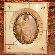 Amazing Antique handpainted miniature portrait painting woman Madame Recamier
