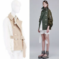SACAI 2016 beige short trench coat white embroidery anglais bomber jacket JP2 M