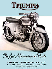Triumph Motorcycle, Retro metal Aluminium Sign vintage / man cave / Garage