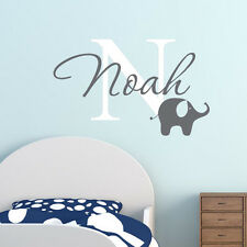 Cute Elephant Vinyl Baby Bedroom Decals Personalized Name Custom Wall Stickers