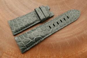 26mm/22mm Gray Genuine CROCODILE Skin Leather Watch Strap forPANERAI