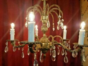 Gorgeous 5 Arm Vintage Brass Palm Crown Chandelier Tear Drop Crystals Spain