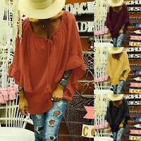 Women Oversize Batwing Long Flared Sleeve Shirt Tops V Neck Plain Ethnic Blouse